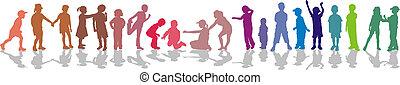 Children Color - Children in line silhouette
