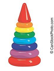Children color pyramid.