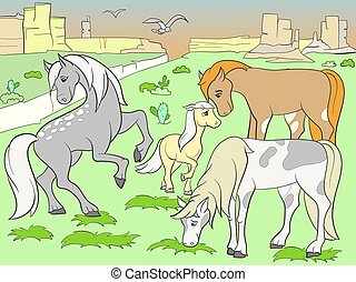 Children colored cartoon horses grazing on meadow