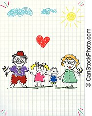 Children colorful hand drawn vector illustration of man, woman and children holding hands