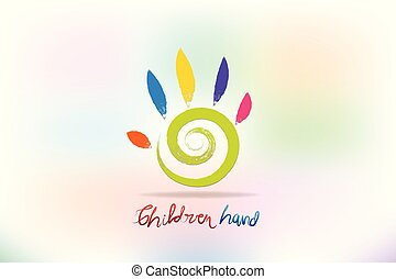 Children colorful hand logo vector