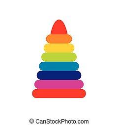 Children colorful pyramid icon