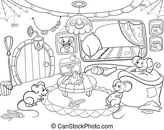 Children coloring cartoon house family mouse vector...