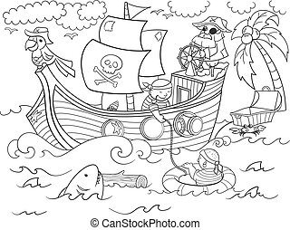 children coloring on the theme of pirates vector - Pirates...