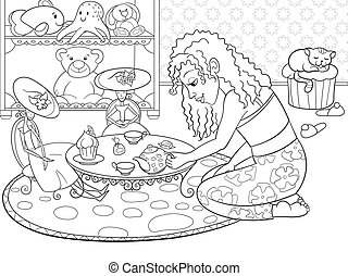 Children coloring vector girl in childrens room playing with...