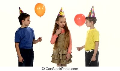 Children come to the birthday party and play Counting. white background