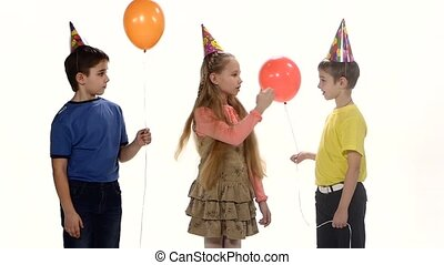 Children come to the birthday party and play Counting. white background. Slow motion