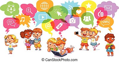 Children communicate with each other through social networks