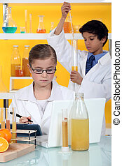 Children conducting an experiment