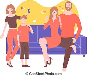 Children congratulate parents on the holiday. A boy and a girl read a written verse, sing a song, everyone is happy and smiling. Bright family in the room. Vector illustration.