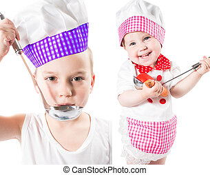 Children cook boy and girl wearing a chef hat with  pan isolated on white background.The concept of healthy food and childhood