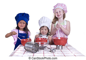 Children Cooking - A group of children cooking up something...