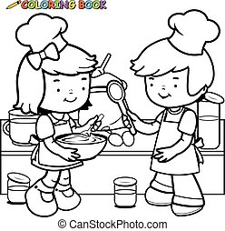 Children cooking coloring book page