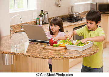 Children cooking in the kitchen