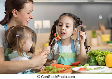 Children cooking with their mother
