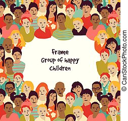 children., cornice, gruppo, felice