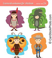 Children costumes. Injun and cowboy, butterfly and sea...