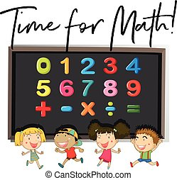 Children counting numbers on board illustration