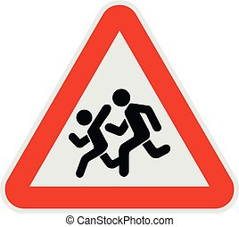 Children crossing the road icon, flat style.