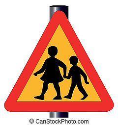 Children Crossing Traffic Sign - The traditional amber...