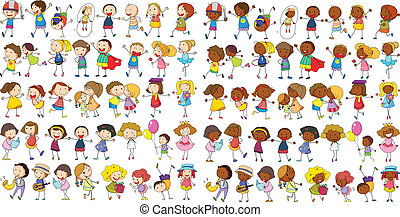 Children cultural - Illustration of diverse kids doodle