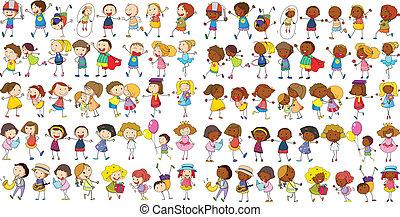Children cultural - Illustration of diverse kids doodle