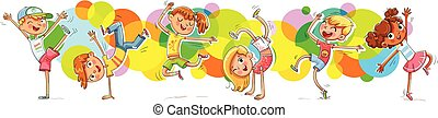 Children dancing breakdanceon the background color spray