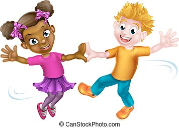 Children Dancing - Two cartoon kids, a white boy and a black...