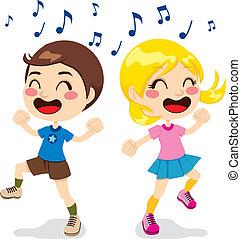 Children Dancing - Two children a boy and a girl dancing...
