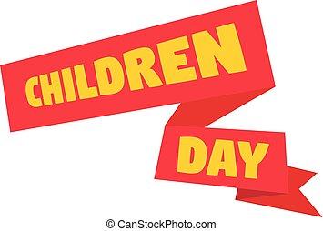 Children day banner icon, flat style