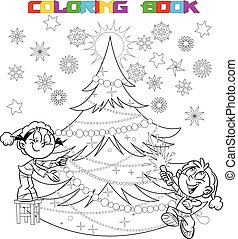 In the illustration, the children decorate the Christmas tree. The boy in the hands of party poppers. Illustration done in cartoon style, on separate layers. In black and white contour