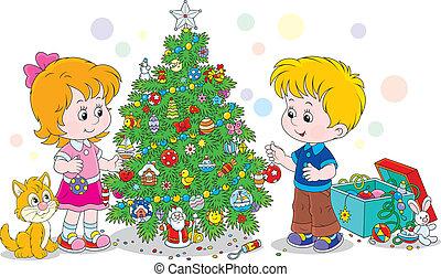 Children decorating a Christmas tre