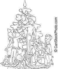 Children Decorating Christmas Tree - Colouring page. Also...