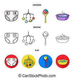 Children diapers, a toy over the crib, a rattle, a children bath. Baby born set collection icons in cartoon, outline, flat style bitmap symbol stock illustration web.