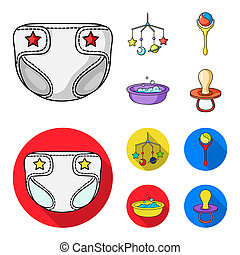 Children diapers, a toy over the crib, a rattle, a children bath. Baby born set collection icons in cartoon, flat style bitmap symbol stock illustration web.