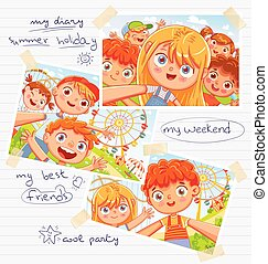 Children diary with pasted photos, handwritten notes and kids drawings