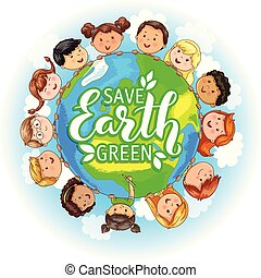 Children different nationalities hold planet.