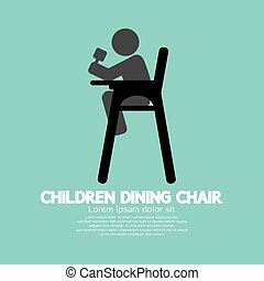 Children Dining Chair Vector.