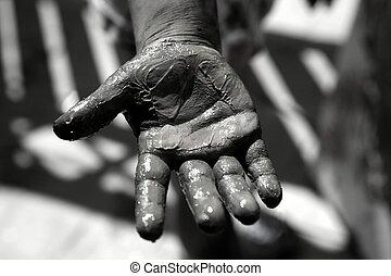 Children dirty black hands, paint game - Children dirty dark...