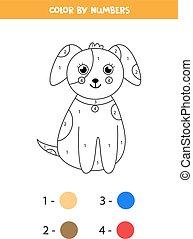 children., dog., carton, page, mignon, coloration, math, couleur