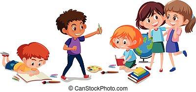 Children doing activity on white background