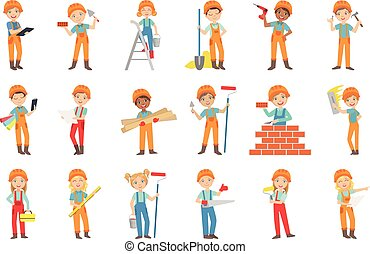 Children Doing Construction Work Set Of Bright Color Isolated Vector Drawings In Simple Cartoon Design