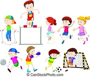 Children doing different kinds of sports