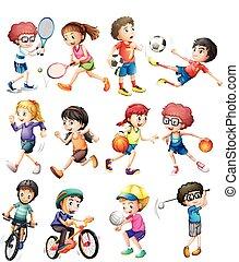 Children doing different sports
