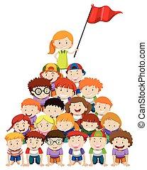Children doing human pyramid