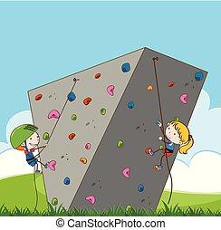 Children doing outdoor rock climbing