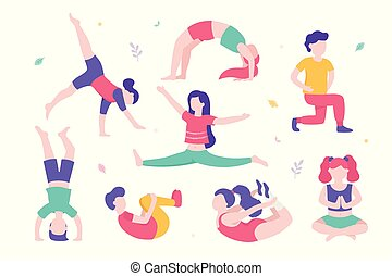 Children doing physical exercises set of various poses and cute cartoon characters of kids isolated on white background. Vector illustration in flat design, infographic elements.