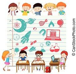 Children doing science at school