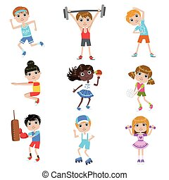 Children Doing Sports Set Of Simple Design Illustrations In...