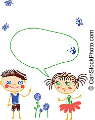 children doodles with kids talking